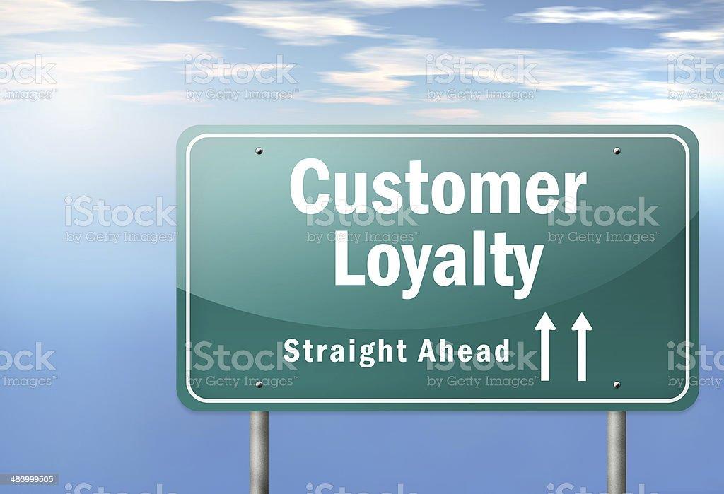 Highway Signpost Customer Loyalty vector art illustration