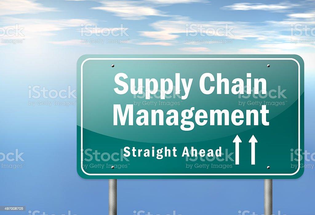Highway Signpost Supply Chain Management vector art illustration