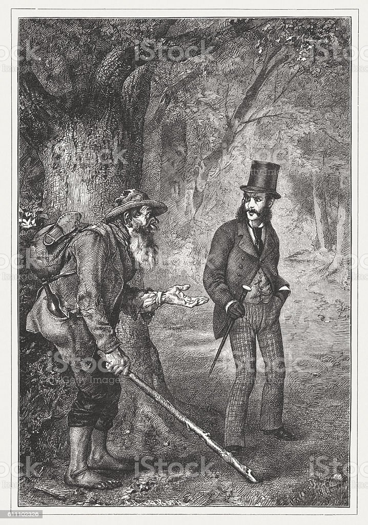 Highwayman in the past, wood engraving, published in 1882 vector art illustration