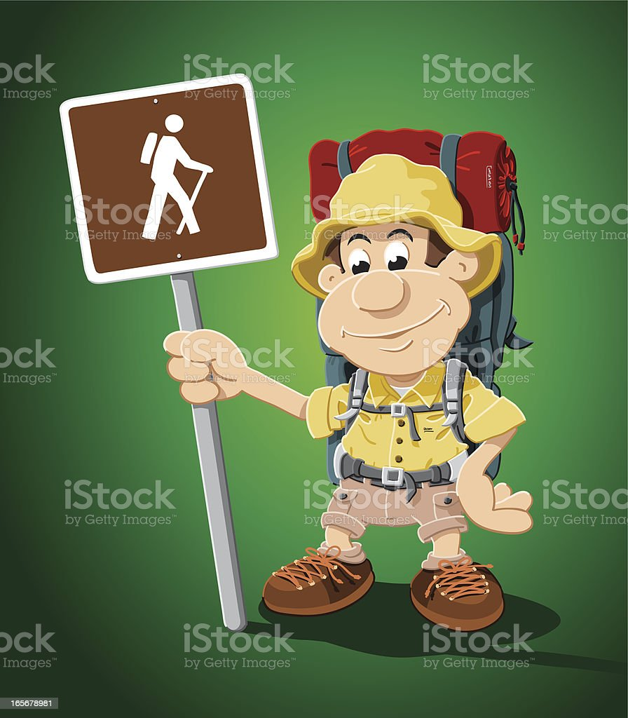 Hiker Cartoon Man with Sign and Backpack royalty-free stock vector art