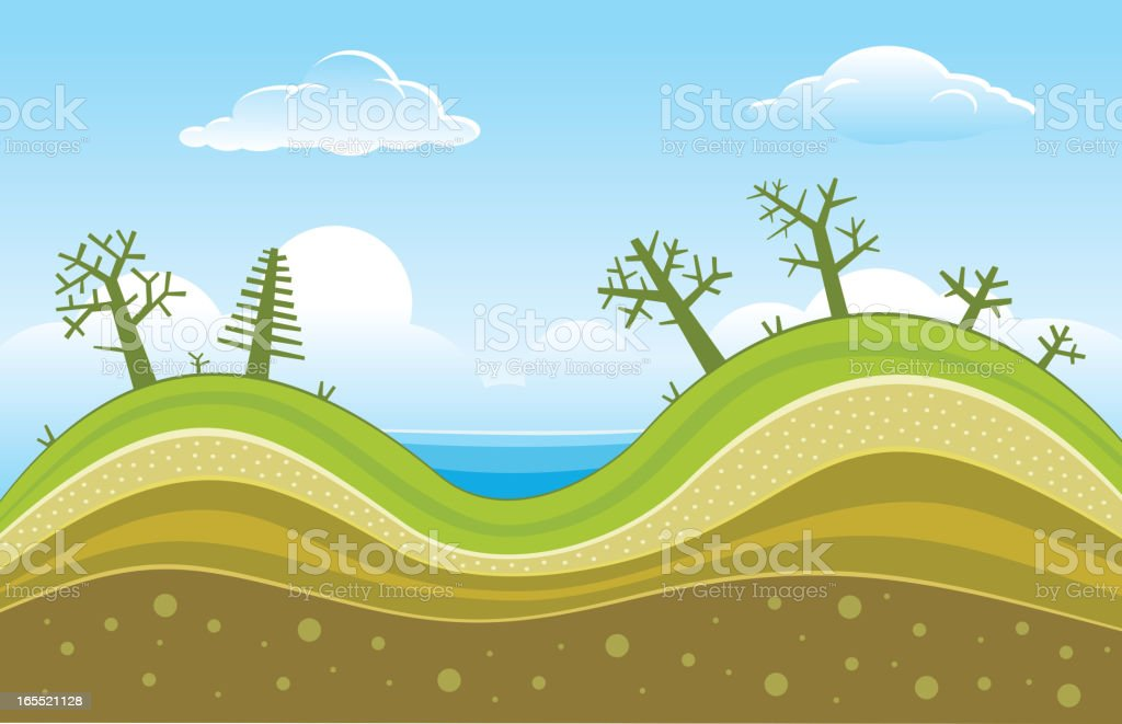 Hills vector art illustration
