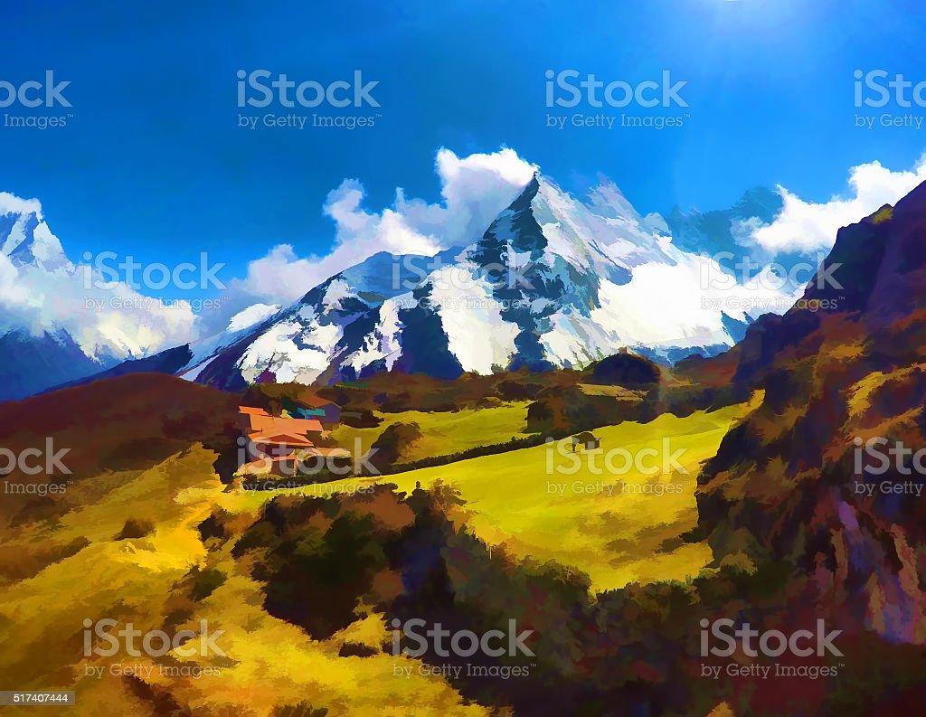 Himalaya mountains, rural landscape vector art illustration
