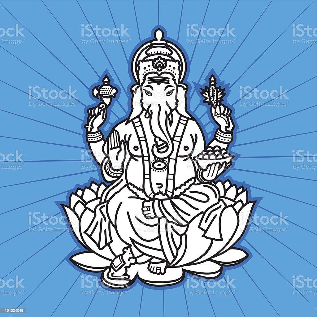 Hindu God Ganesha vector art illustration