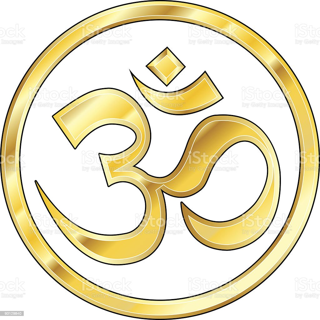 Hindu om icon in shiny gold royalty-free stock vector art