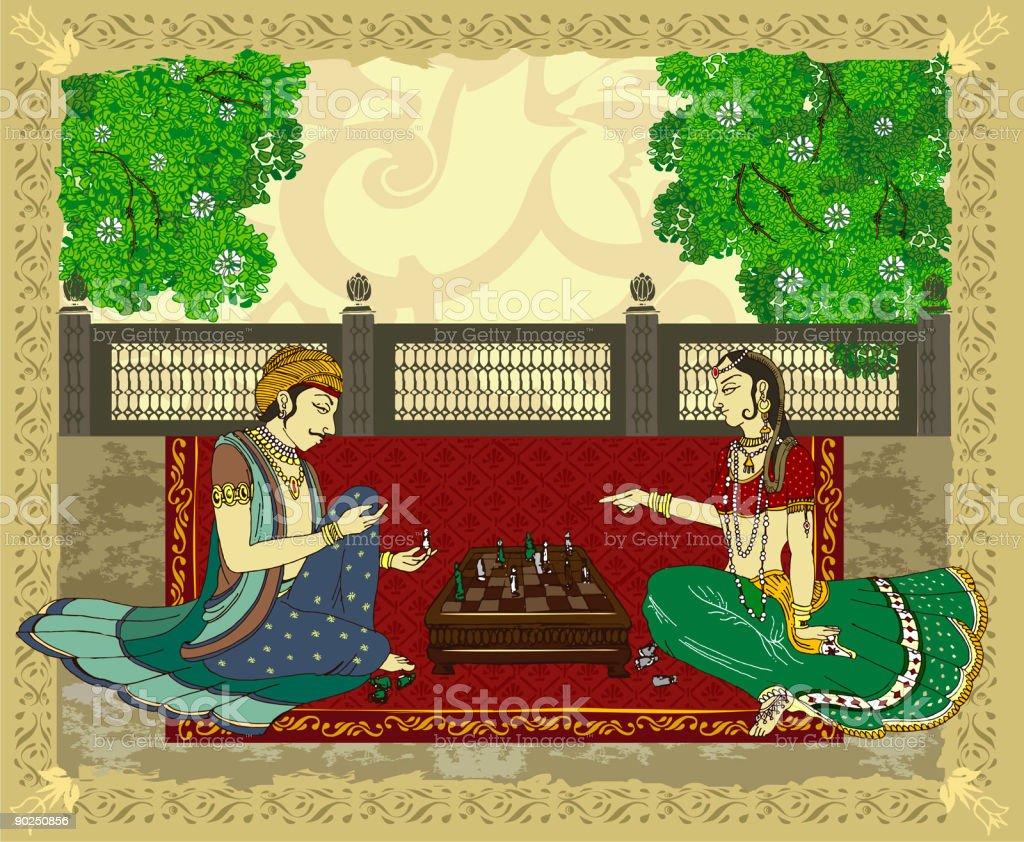 hindu princess and prince playing chess royalty-free stock vector art