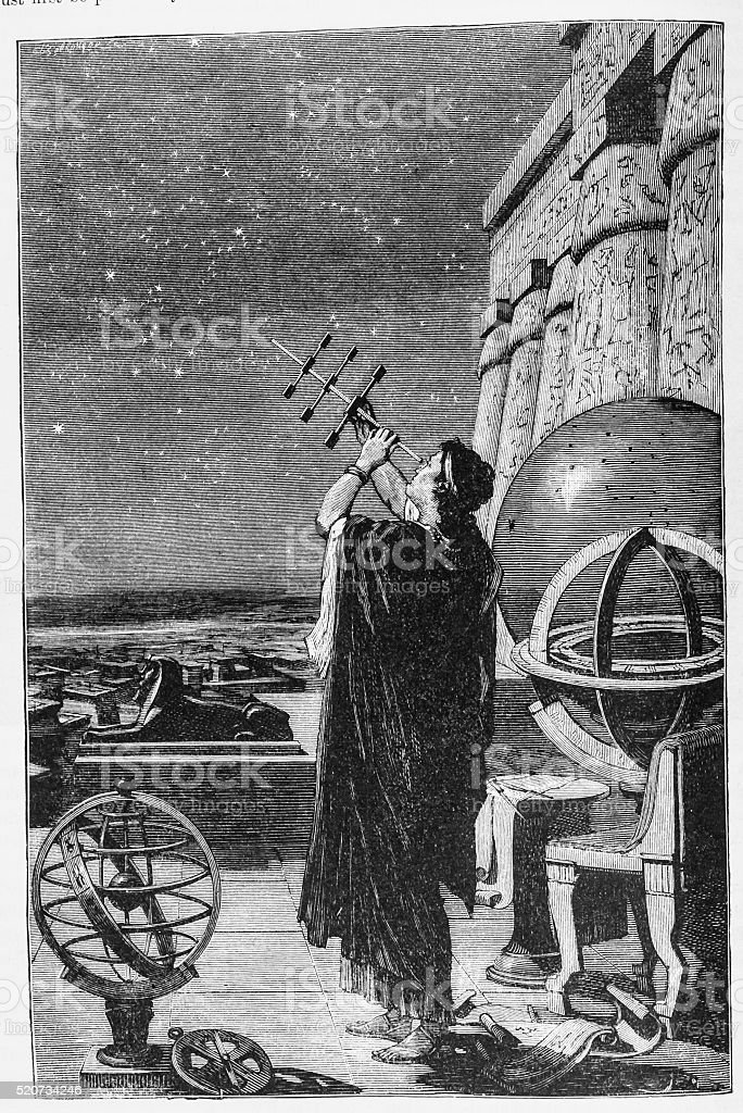 Hipparchus in the Observatory of Alexandria vector art illustration