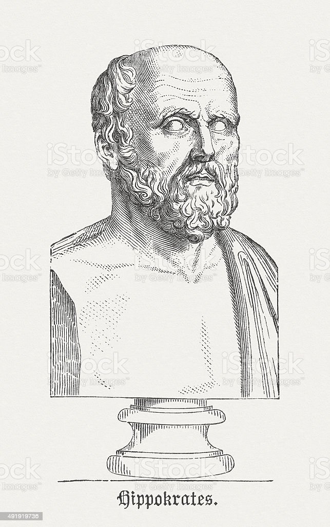 Hippocrates of Cos - Famous ancient physician, published in 1878 vector art illustration