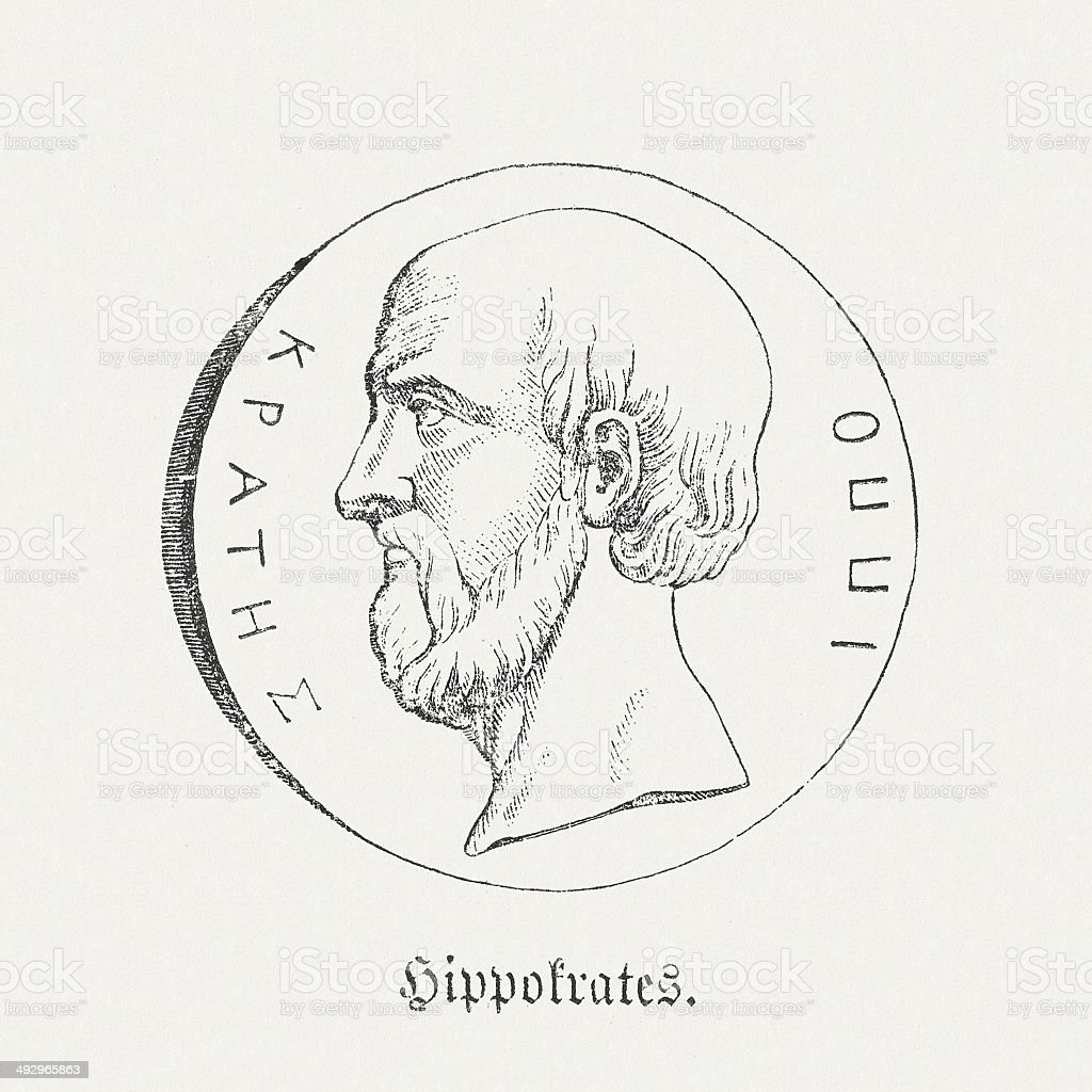 Hippocrates of Cos (c. 460 - c. 370 BC) vector art illustration