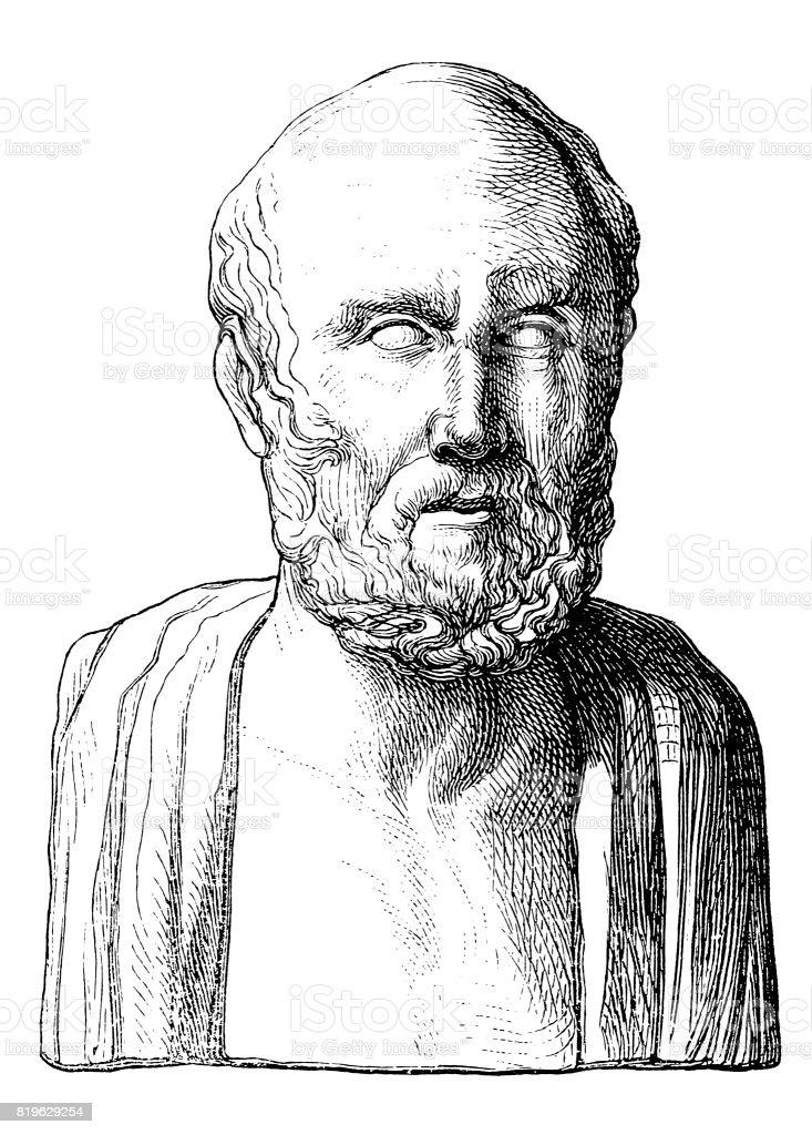 Hippocrates of Kos (c.460 BC-c.370 BC) vector art illustration