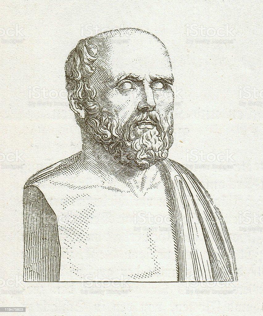 Hippocrates of Kos (c.460 BC-c.370 BC), wood engraving, published 1882 royalty-free stock vector art