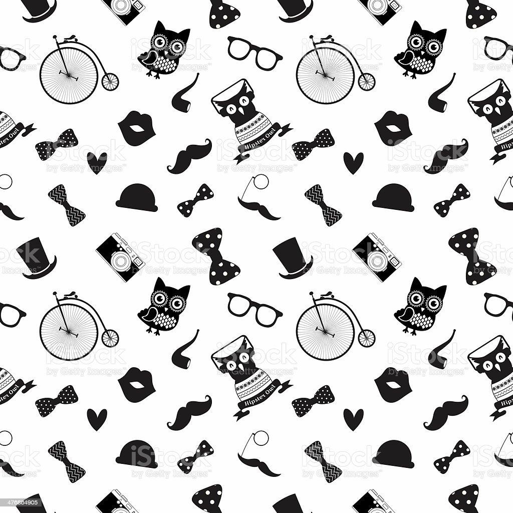 Hipster Schwarz Und Weiß Nahtlose Muster Vektor Illustration