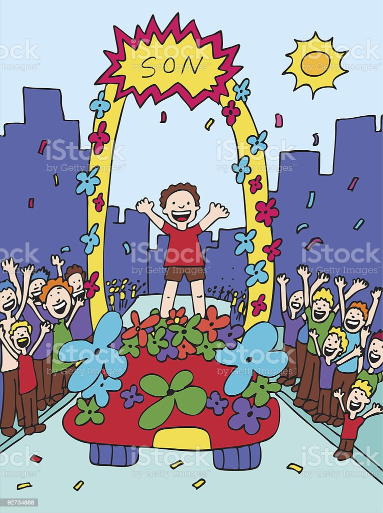 Son Parade vector art illustration
