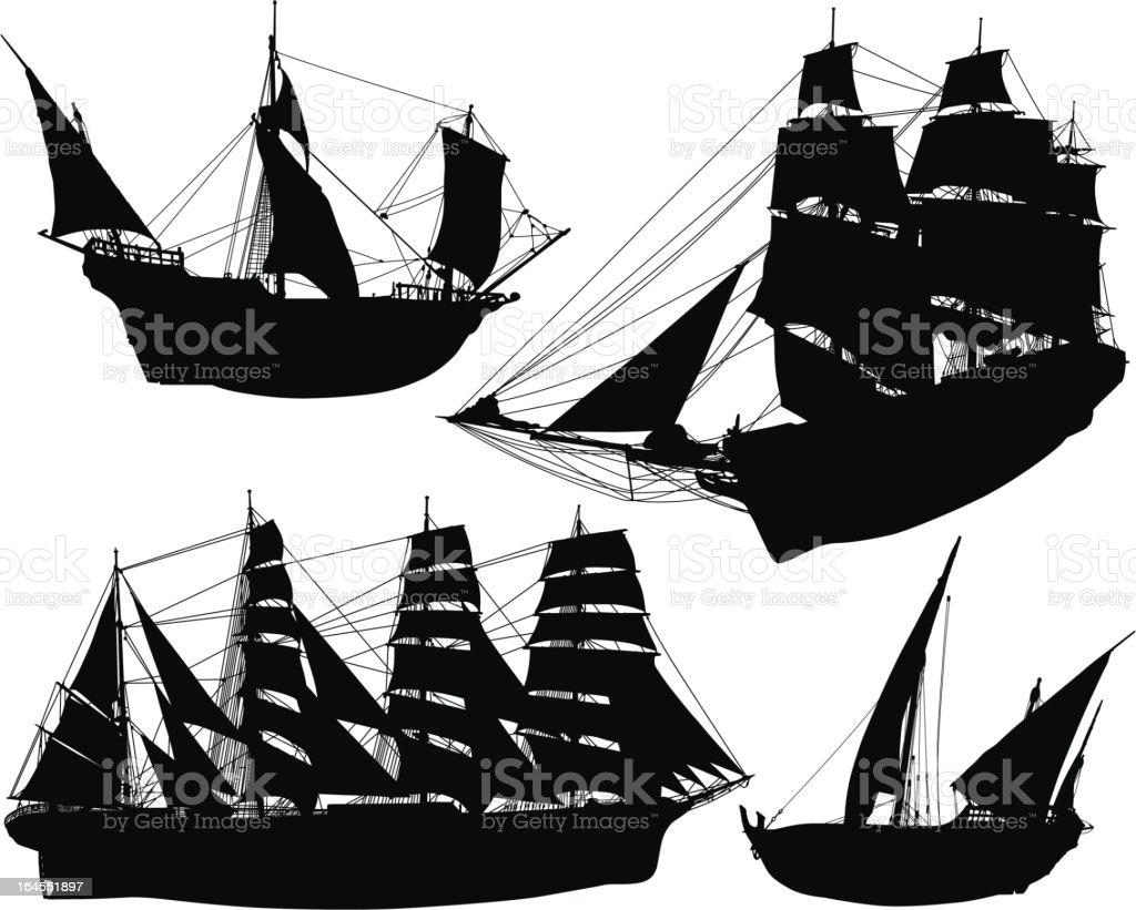 Historial Sailing Ships royalty-free stock vector art