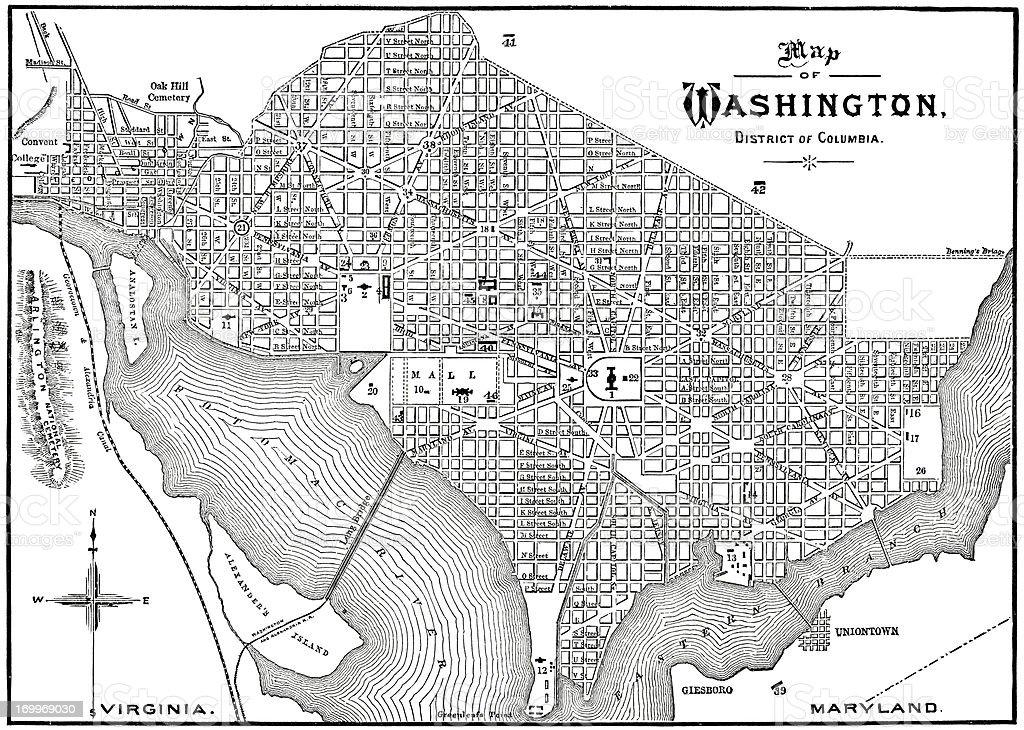 Historic 1884 Washington DC Map vector art illustration