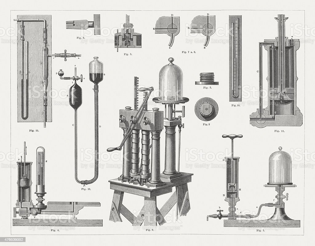 Historic air pumps, wood engravings, published in 1877 vector art illustration
