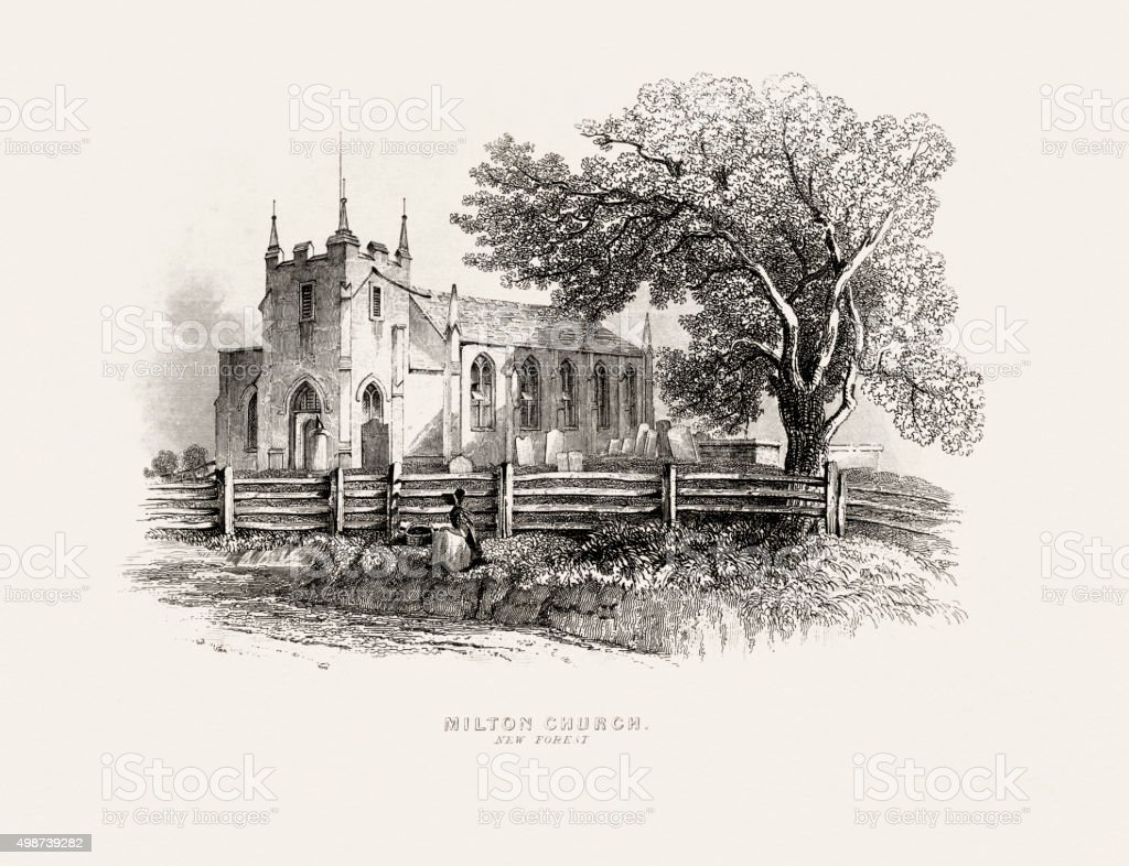 Historic Church in Hampshire of 19 century stock photo