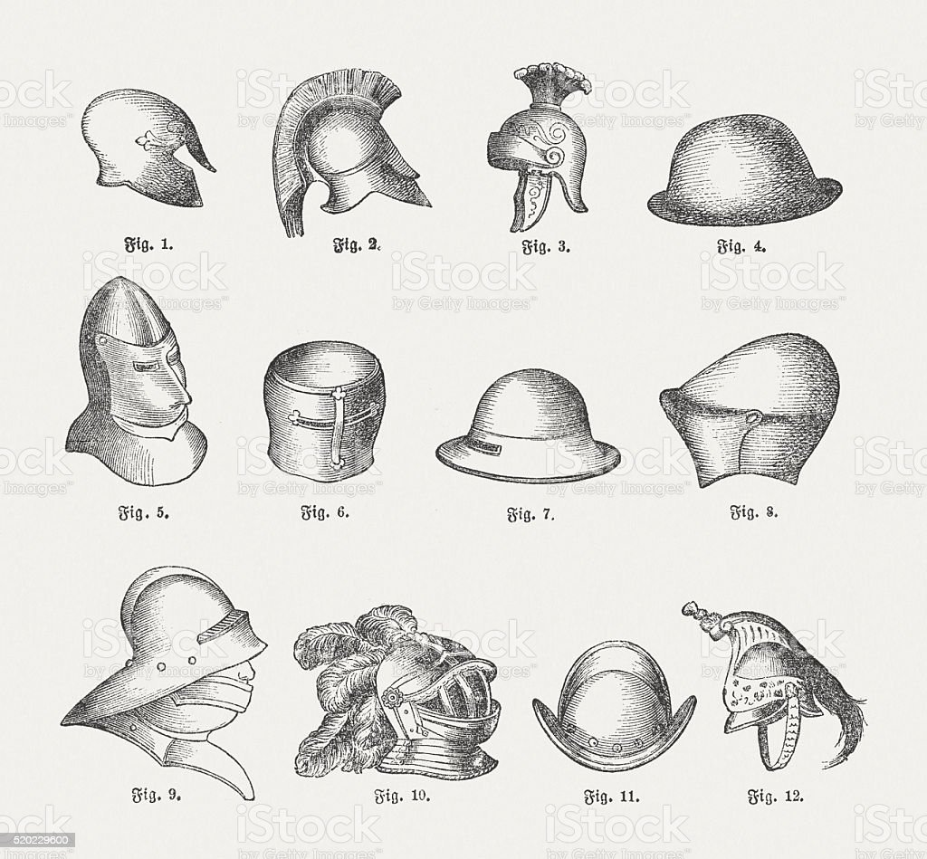 Historic helmets, wood engravings, published in 1884 vector art illustration