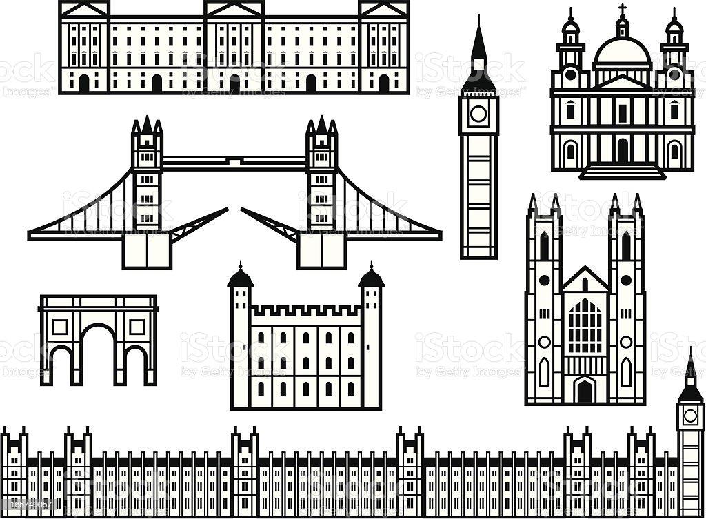 Historic London vector art illustration