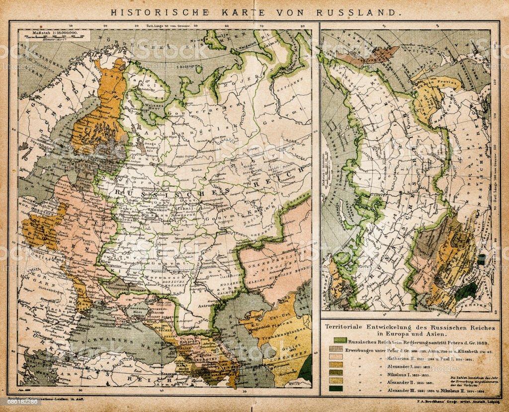 Historic map of Russia vector art illustration