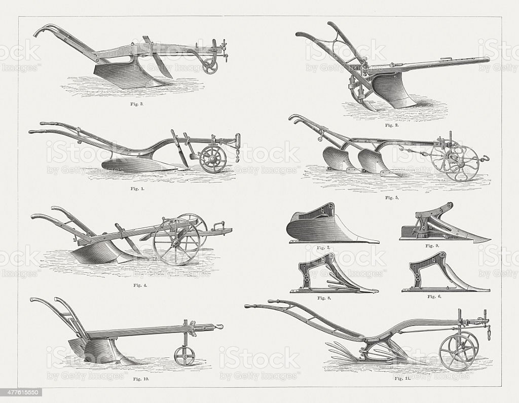 Historical hand plows, wood engravings, published in 1877 vector art illustration
