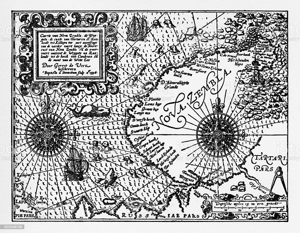 Historical Map of Dutch Navigators Artic Expedition vector art illustration
