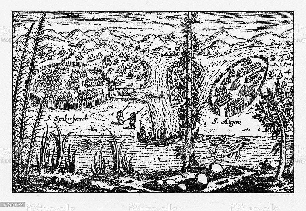 Historical Map of Dutch Navigators Expedition to Sumatra Illustration vector art illustration