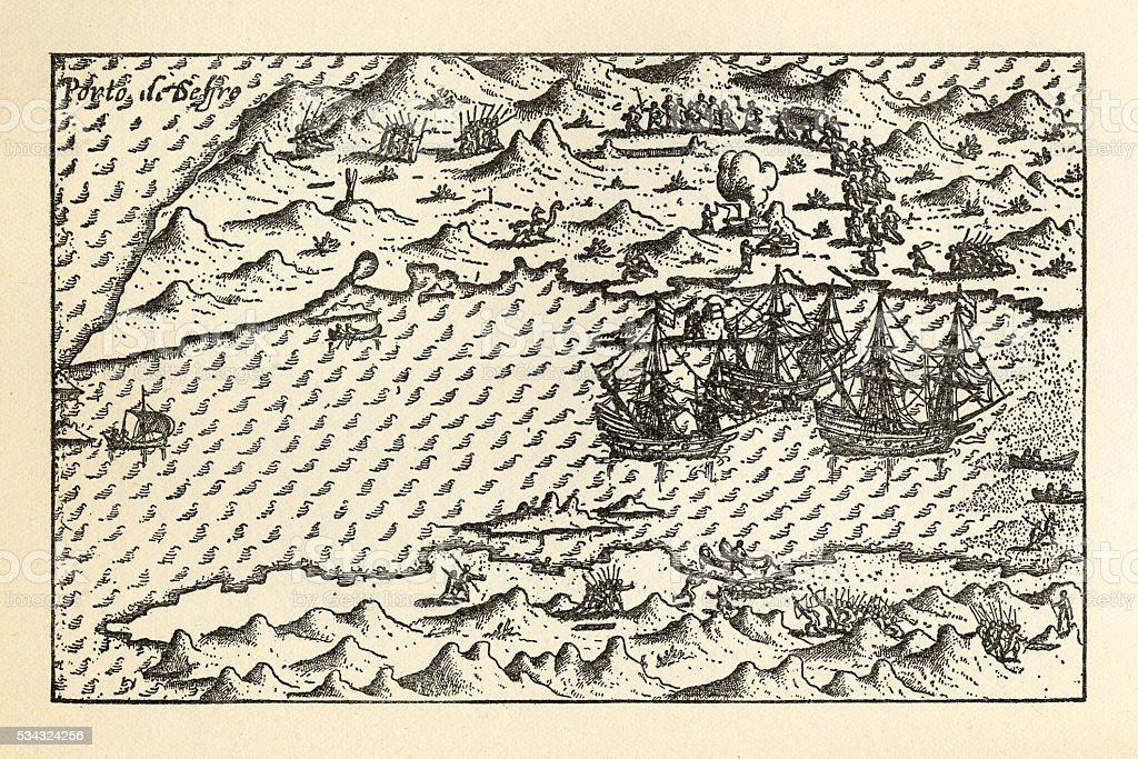 Historical Map of Van Noort at Porto Deseado, 1598 vector art illustration
