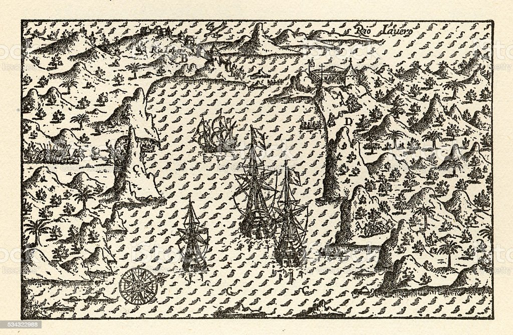 Historical Map of Van Noort at Rio de Janeiro, 1598 vector art illustration
