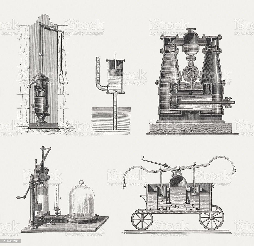 Historical pumps, wood engravings, published in 1880 vector art illustration