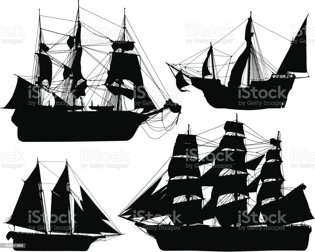 Historical Ship Collection royalty-free stock vector art