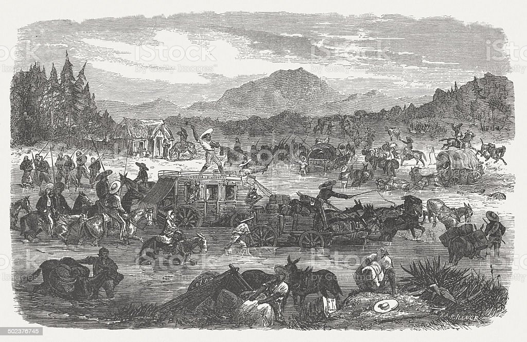 Historical wagon train in Mexico, wood engraving, published in 1880 vector art illustration
