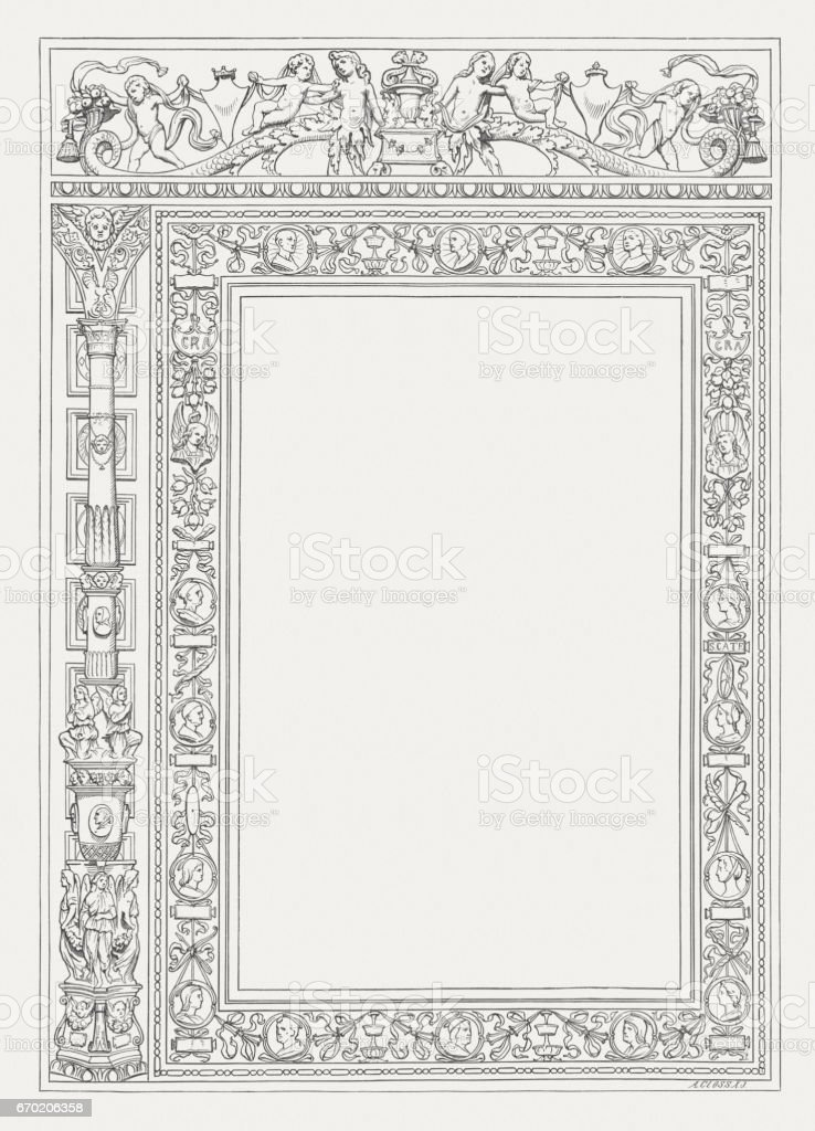 Historicism ornament frame with copy space, wood engraving, published 1884 vector art illustration