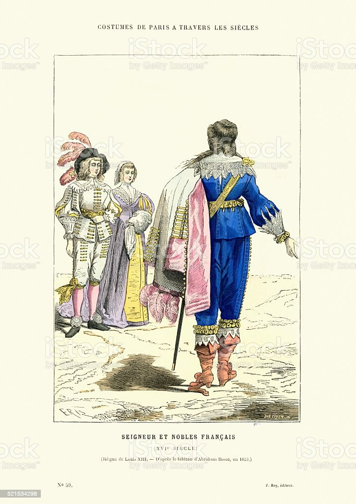 History Fashion French Lord and Nobles of the 16th Century vector art illustration