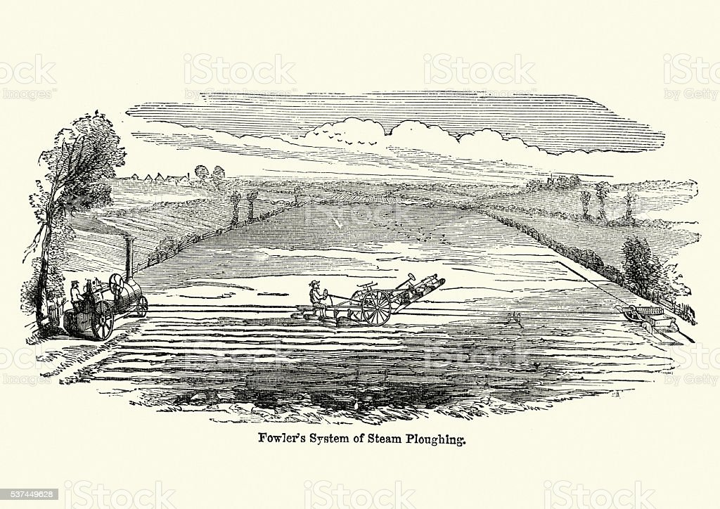 History of Agriculture - Fowlers system of Steam Ploughing vector art illustration