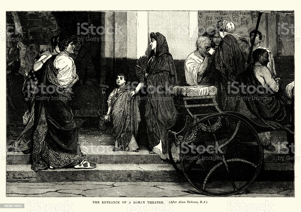 History of Ancient Rome - Roman Theatre vector art illustration