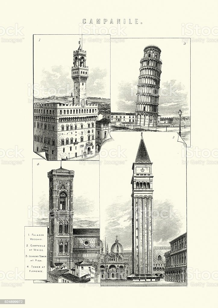 History of Architecture - Campanile - Bell Towers vector art illustration