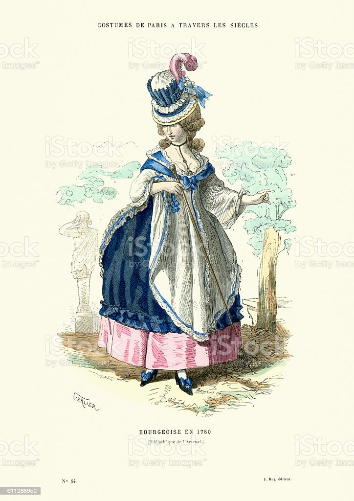 History of Fashion, French Bourgeoisie Woman 1780 vector art illustration