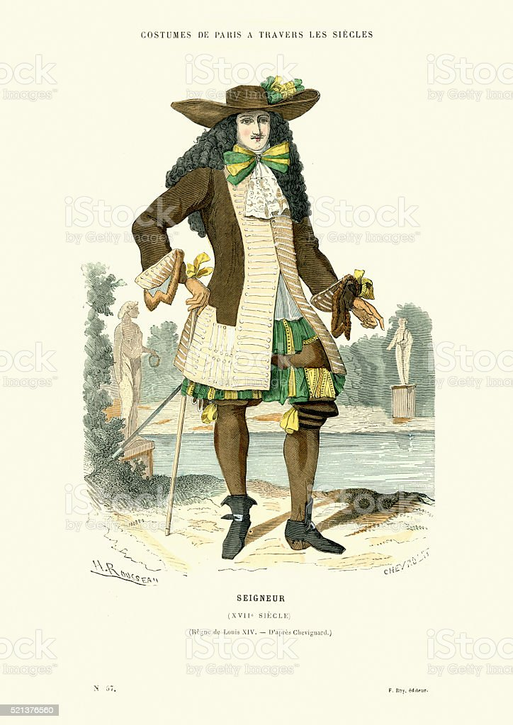 History of Fashion - French Lord of the 17th Century vector art illustration