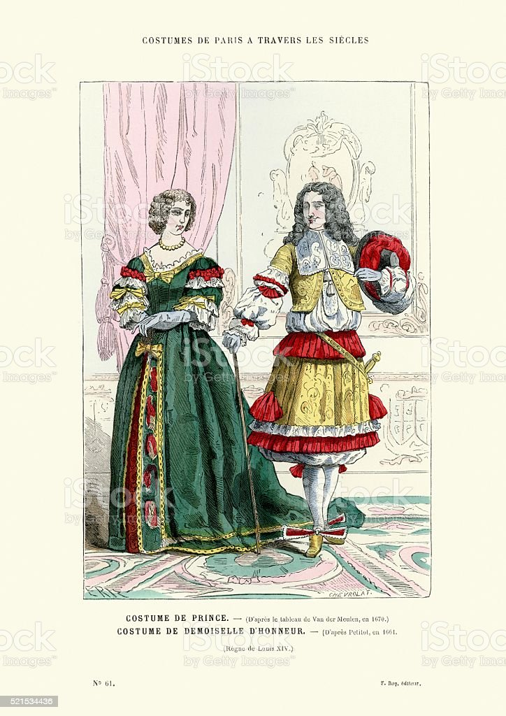 History of Fashion - French Prince and Lady 17th Century vector art illustration