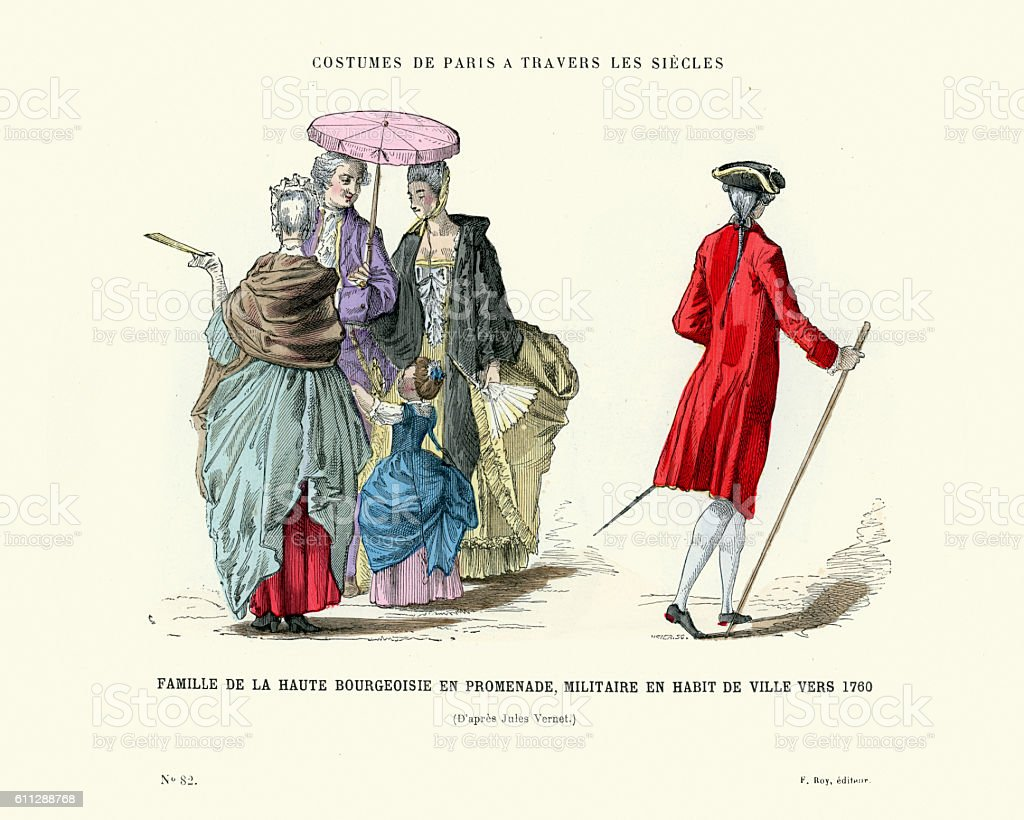 History of Fashion, French upper class family 1760 vector art illustration