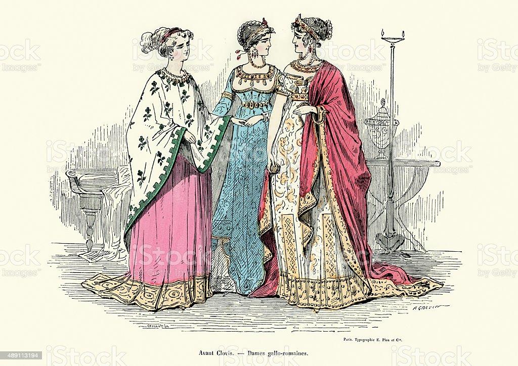 History of Fashion - Gaul Roman ladies vector art illustration