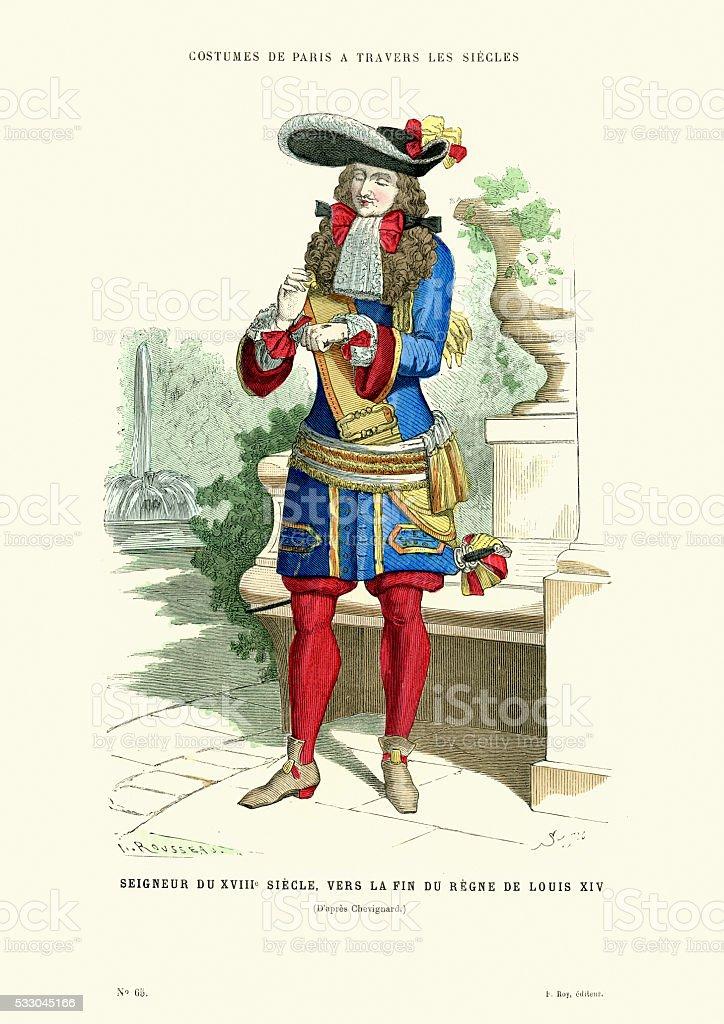 History of Fashion - Lord of the eighteenth century vector art illustration
