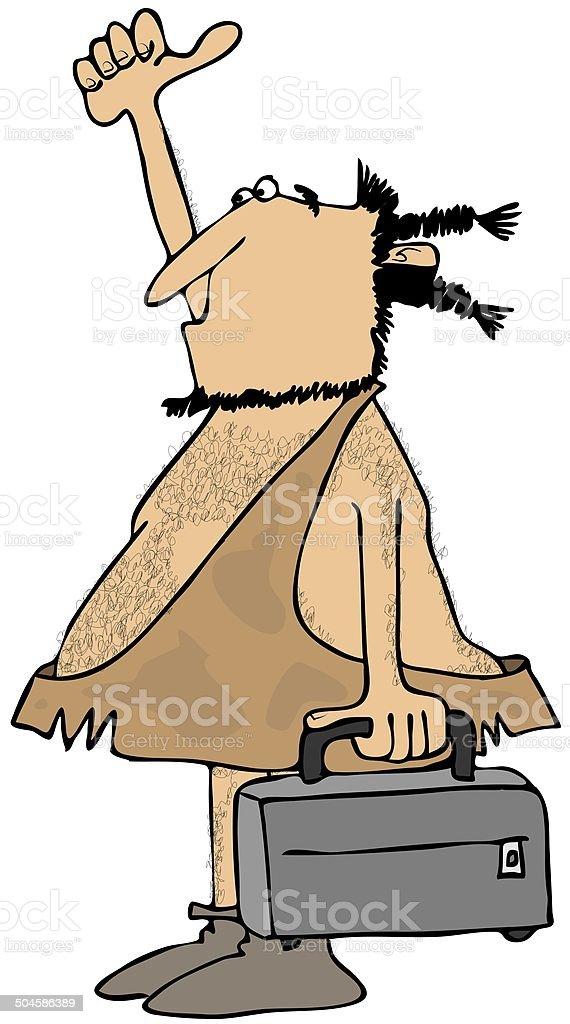 Hitchhiking caveman royalty-free stock vector art