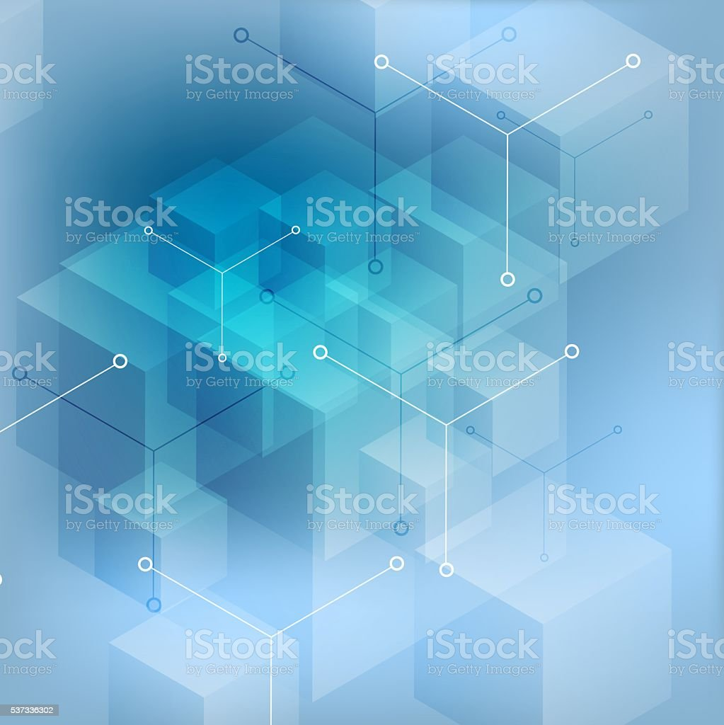 Hi-tech abstract geometric blue background vector art illustration
