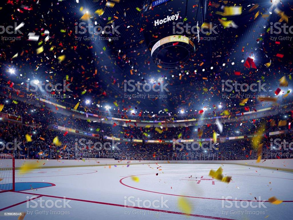 Hockey arena celebration opening vector art illustration