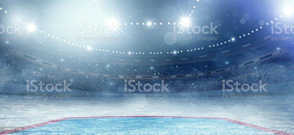 Hockey arena vector art illustration
