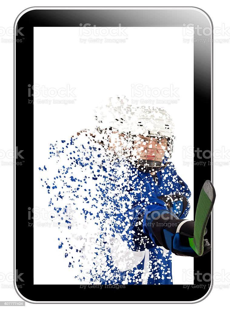 Hockey player outgoing from tablet vector art illustration