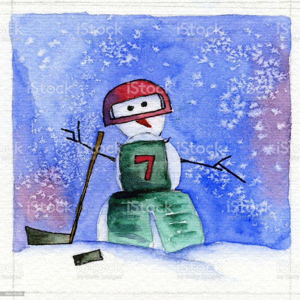 Hockey Player Snowman royalty-free stock vector art