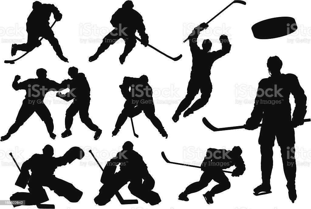 Hockey Silhouettes royalty-free stock vector art