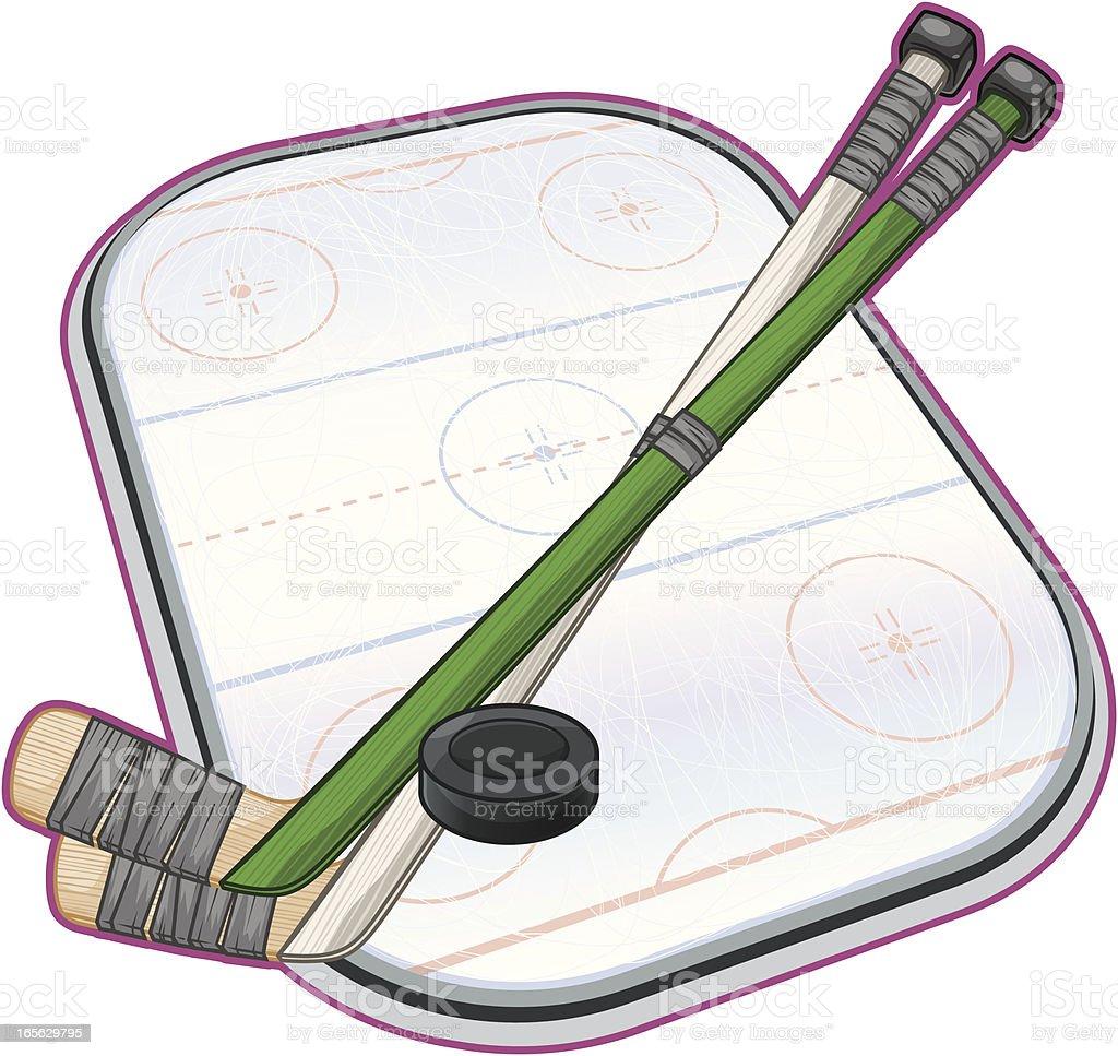 Hockey Sticks and Rink royalty-free stock vector art